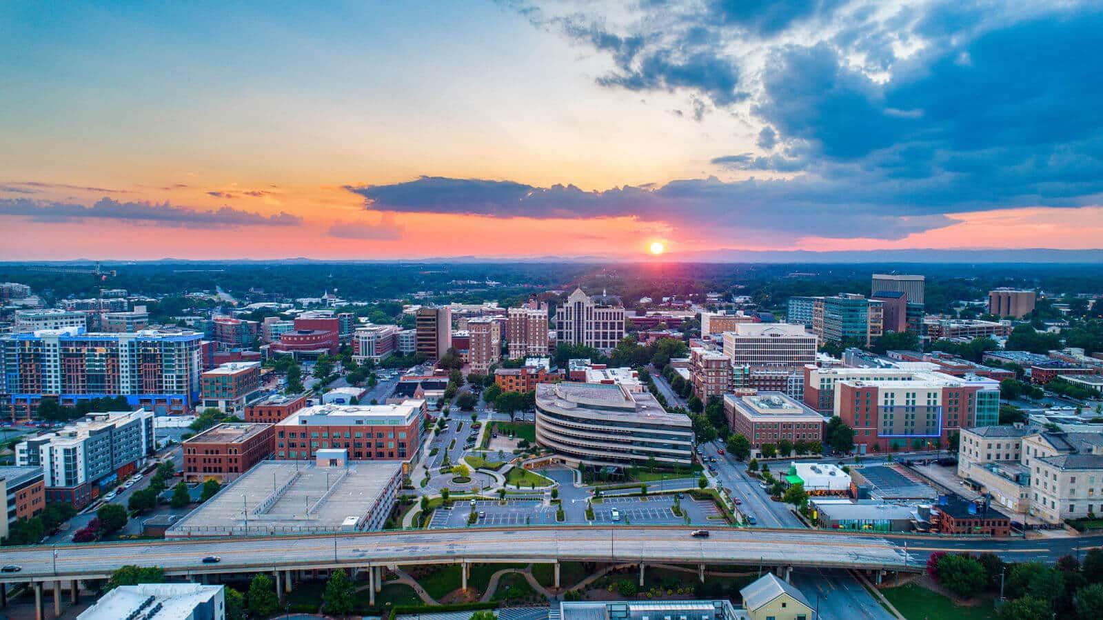 Greenville South Carolina Skyline at Sunset